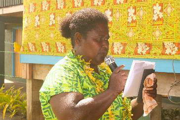 Head Mistress of Teatupa Primary School, Mrs. Margaret Barimata giving her remarks