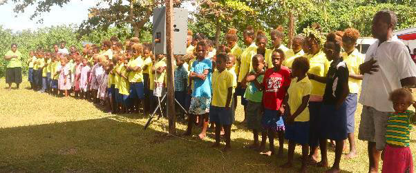 Teatupa School children and some of the staff singing the Guadalcanal Provincial Anthem