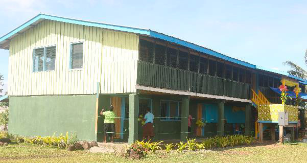 Teatupa Primary School Classroom where the new classrooms at the bottom floor were officially handed over to the community